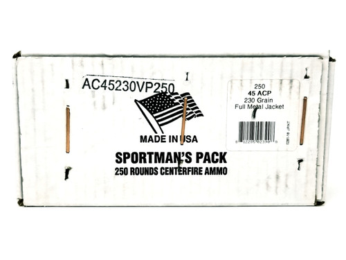 Armscor 45 AUTO Ammunition Sportsman's Pack 230 Grain Full Metal Jacket Pack of 250 Rounds