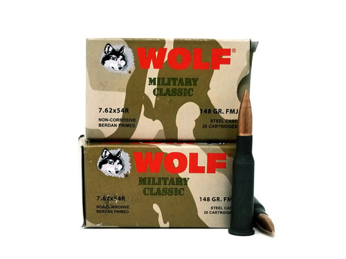 Wolf 7.62x54mm Rimmed Russian Ammunition Military Classic 148 Grain Full Metal Jacket Steel Case 20 Rounds