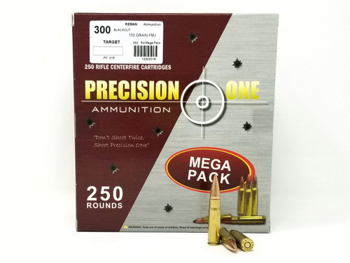 Precision One 300 AAC Blackout Ammunition 150 Grain Full Metal Jacket REMAN Mega Pack of 250 Rounds