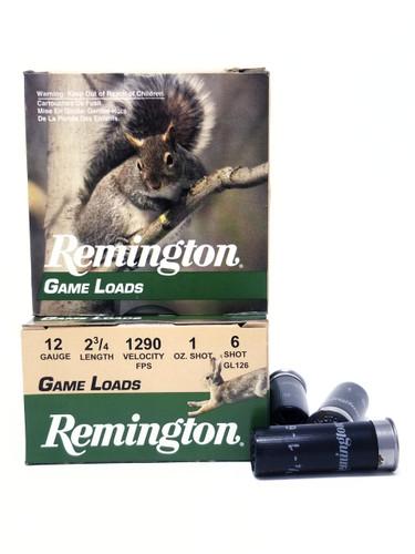 """Remington 12 Gauge Ammunition Game Load GL126 2-3/4"""" 6 Shot 1oz 1290fps Case of 250 Rounds"""