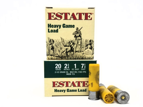 "Estate 20 Gauge Ammunition HG2075 Heavy Game Loads 2-3/4"" 1oz #7.5 shot 1165fps Case of 250 Rounds"