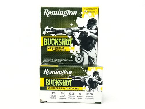 "Remington 12 Gauge Ammunition 12B00B 2-3/4"" 00 Buck 9 Pellets 1325fps 25 Rounds"
