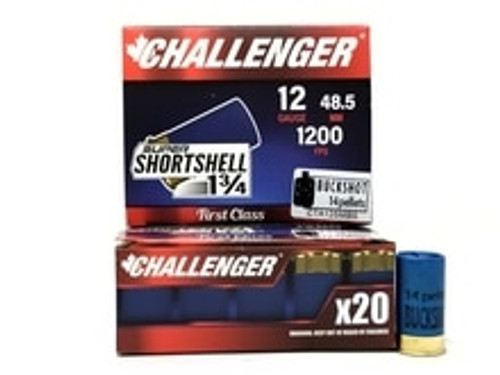 """Challenger 12 Gauge Ammunition CTA12SMBS 1-3/4"""" Buckshot 14 Pellets 1200fps 20 Rounds"""