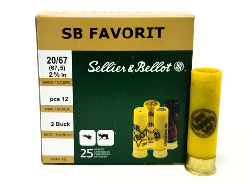 """Sellier & Bellot 20 Gauge Ammunition SB20BSA 2-5/8"""" 2 Buck 12 Pellets 25 Rounds"""
