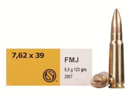 Sellier & Bellot 7.62x39mm Ammunition SB76239A 123 Grain Full Metal Jacket Case of 600 Rounds