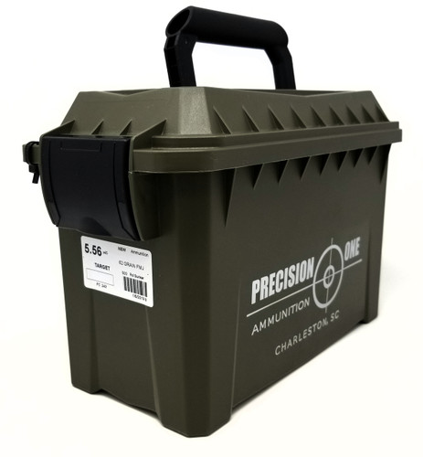Precision One 5.56x45mm Ammunition 243 62 Grain Full Metal Jacket Ammo Can of 500 Rounds