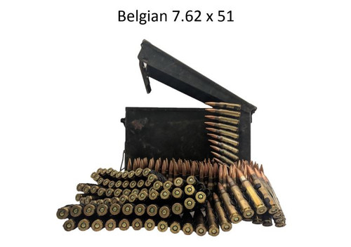 Belgian Surplus 7.62x51 Ammunition AM3033 143 Grain Full Metal Jacket (Linked) Can of 250 Rounds