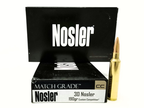 Nosler 30 Nosler Ammunition Match Grade 60029 190 Grain Custom Competition 20 Rounds