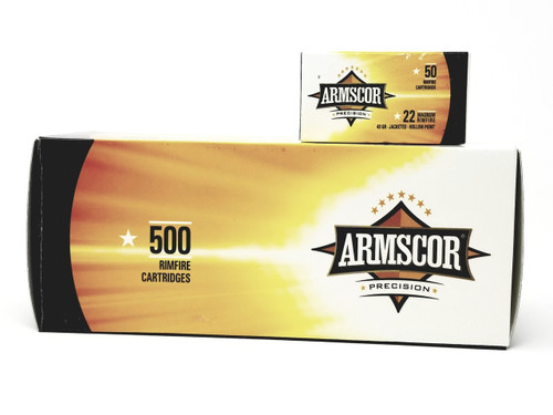 Armscor 22 WMR Ammunition Brass 40 Grain Jacketed Hollow Point Brick of 500 Rounds