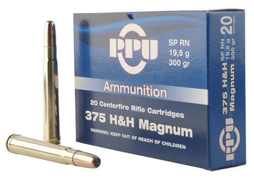 Prvi PPU 375 Holland & Holland Magnum Ammunition PP375S 300 Grain Soft Point Round Nose 10 Rounds