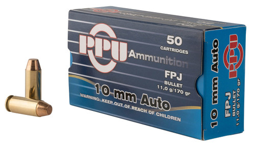 Prvi PPU 10mm Ammunition PPH10F 170 Grain Jacketed Flat Point 50 Rounds