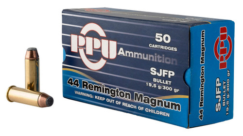 Prvi PPU 44 Rem Mag Ammunition PPH44MF 300 Semi-Jacketed Flat Point 50 Rounds