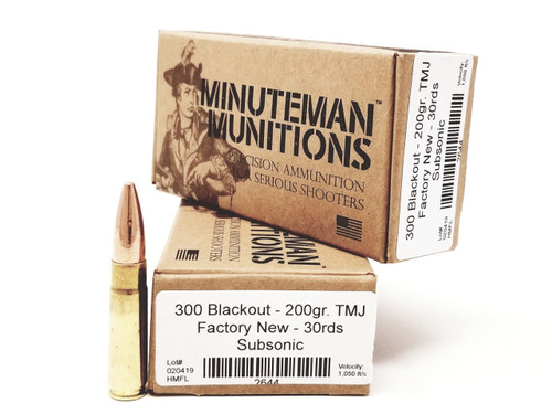 Minuteman Munitions 300 Blackout Ammunition 200 Grain Factory New Subsonic Total Metal Jacket Case of 300 Rounds