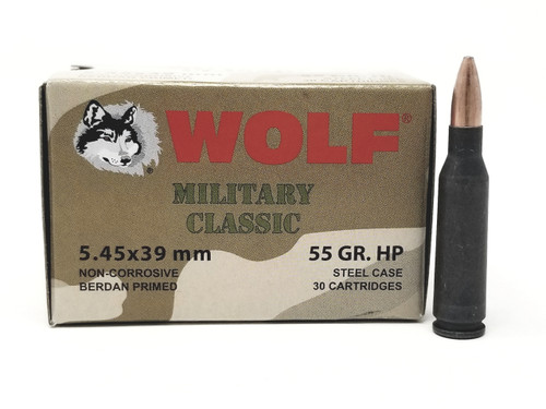Wolf 5.45x39mm Ammunition Military Classic 55 Grain Hollow Point Case of 750 Rounds