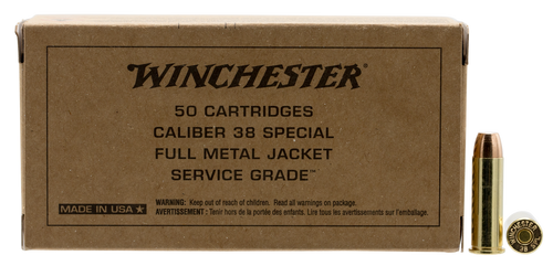 Winchester 38 Special Ammunition Service Grade SG38W 130 Grain Full Metal Jacket 50 Rounds