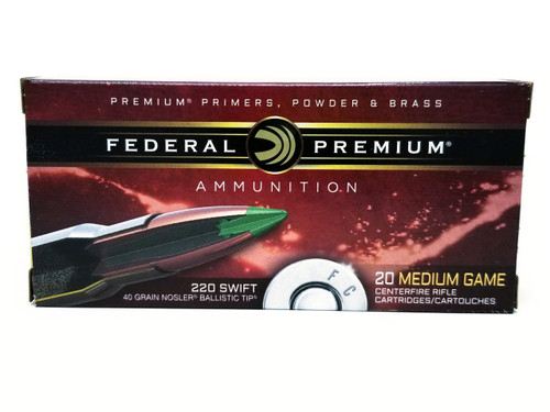 Federal 220 Swift Ammunition Medium Game P220B 40 Grain Nosler Ballistic Tip 20 Rounds