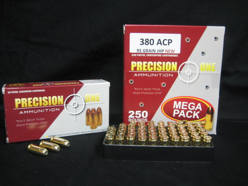 Precision One 380 Auto Ammunition 95 Grain Jacketed Hollow Point 50 Rounds