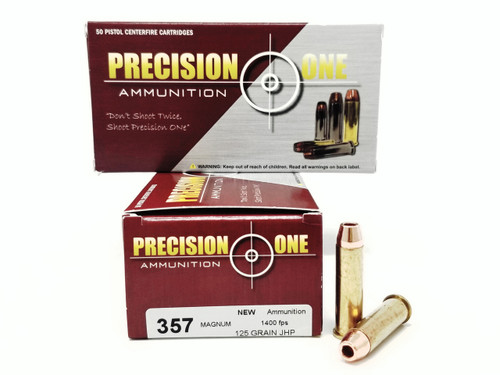 Precision One 357 Mag Ammunition 125 Grain Jacketed Hollow Point 50 Rounds