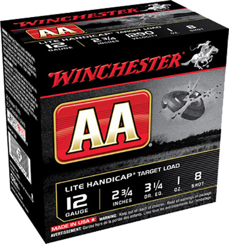 "Winchester 12 Gauge AAHLA128 Ammunition AA Target Loads 2-3/4"" Lead 8 Shot 1oz 1290fps Case of 250 rounds"