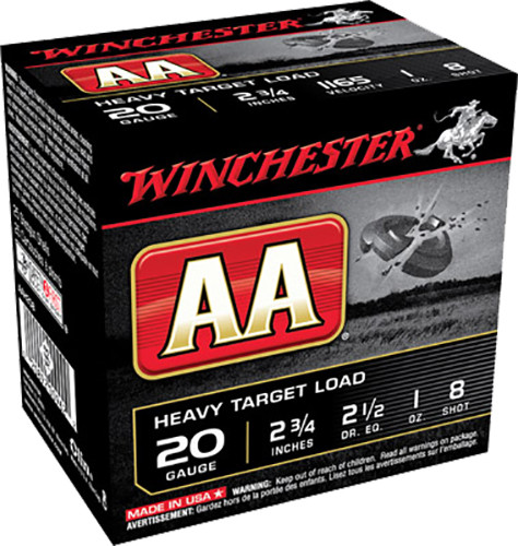 "Winchester 20 Gauge AAH208 Ammunition AA Target Loads 2-3/4"" Lead 8 Shot 1oz 1165fps Case of 250 rounds"