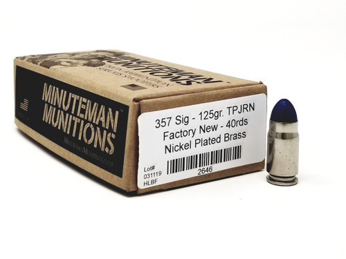 Minutemen Munitions 357 Sig Ammunition MM2646 125 Grain Total Polymer Jacket Round Nose Case of 400 Rounds