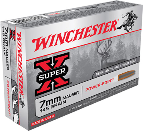 Winchester 7mm Mauser Ammunition Super-X X7MM1 145 Grain Power-Point 20 Rounds
