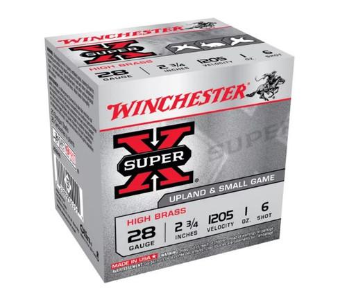 """Winchester 28 Gauge Ammunition Super-X High Brass Game X28H6 2-3/4"""" 6 Shot 1oz 1205fps 25 Rounds"""