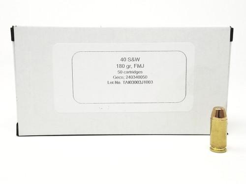 Geco 40 S&W Ammunition 240340050 180 Grain Full Metal Jacket 50 Rounds