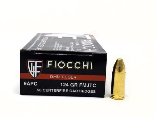 Fiocchi 9mm Luger Ammunition 9APC 124 Grain Full Metal Jacket Truncated Cone Case of 1000 Rounds