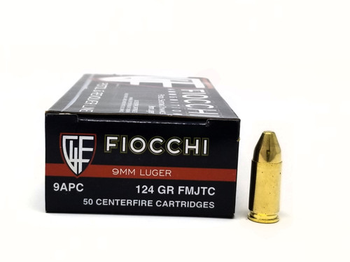 Fiocchi 9mm Luger Ammunition 9APC 124 Grain Full Metal Jacket Truncated Cone Case of 1000 Rounds