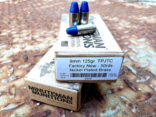 Minuteman Munitions 9mm Ammunition 2648 125 Grain Total Polymer Jacket Truncated Cone 50 Rounds