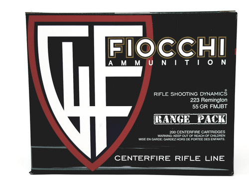 Fiocchi 223 Rem Ammunition Range Pack 223ADG 55 Grain Full Metal Jacket Boat Tail Pack of 200 Rounds