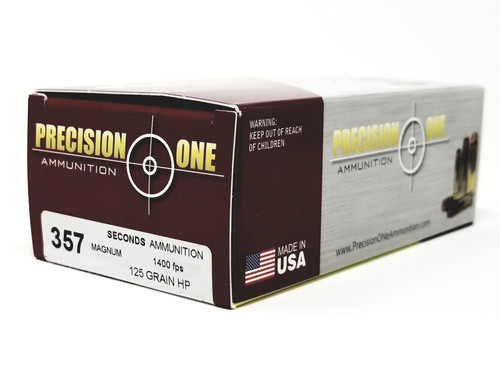 Precision One 357 Mag Ammunition *Seconds* 125 Grain Hollow Point 50 Rounds