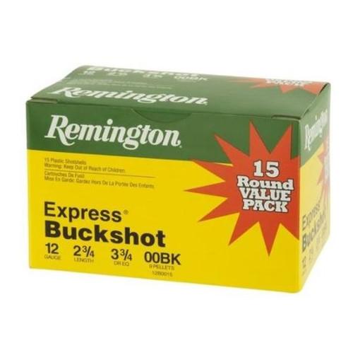 """Remington 12 Gauge Ammunition Express Buckshot 12B0015B 2-3/4"""" 00 Buck 9 Pellets 1325fps Value Pack of 15 Rounds"""