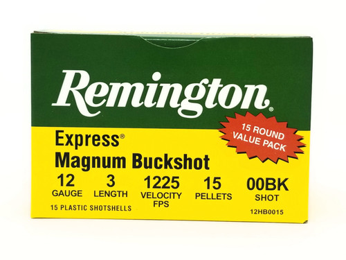 "Remington 12 Gauge Ammunition Express Magnum 12HB0015 3"" 00 Buck 15 Pellets 1225fps 15 Rounds"