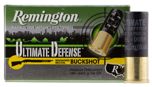 "Remington 12 Gauge Ammunition Ultimate Defense 12B009HD 2-3/4"" 00 Buck 9 Pellets 1325fps 5 Rounds"