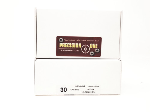 Precision One 30 Carbine Ammunition *Seconds* 110 Grain Full Metal Jacket Round Nose 50 Rounds