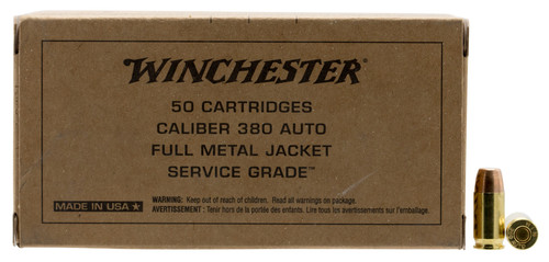 Winchester 380 Auto Ammunition Service Grade SG380W 95 Grain Full Metal Jacket Flat Nose 50 Rounds