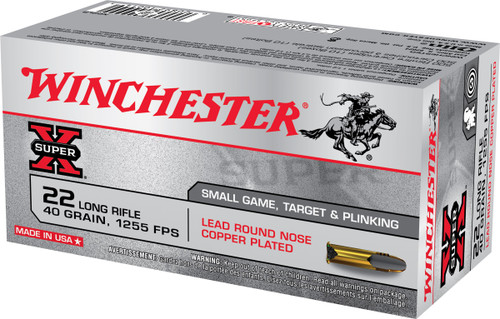 Winchester 22 LR Ammunition Super-X X22LR 40 Grain Copper Plated Lead Rounds Nose 50 Rounds