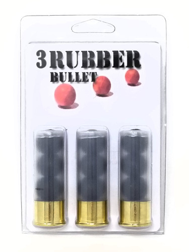 "Paraklese Technologies 12 Gauge Ammunition 2-3/4"" 3 Rubber Bullet 3 Rounds"