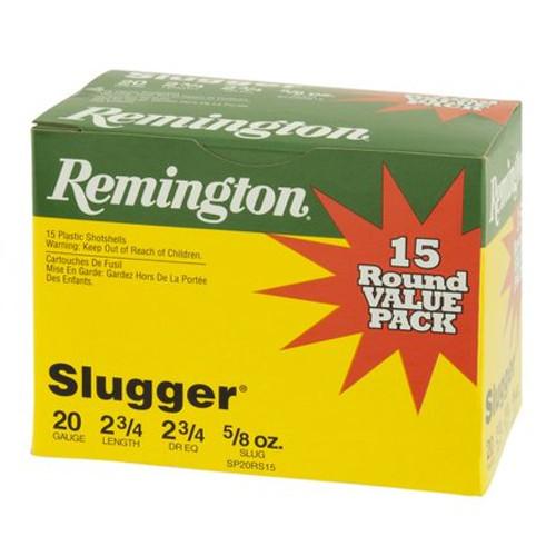 """Remington 20 Gauge Ammunition Slugger SP20RS15 2-3/4"""" Slug 5/8oz 1580fps Value Pack of 15 Rounds"""