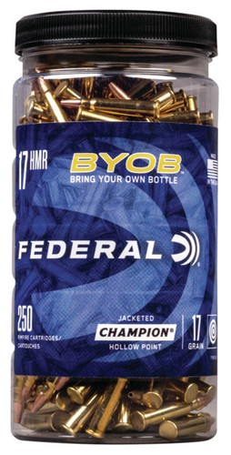 Federal 17 HMR Ammunition BYOB 770BTL250 17 Grain Jacketed Hollow Point Can of 250 Rounds