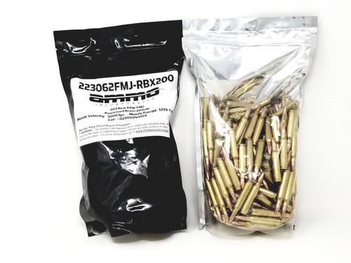 Ammo Inc 223 Rem Ammunition 223062FMJ200 Reman 62 Grain Full Metal Jacket Bag of 200 Rounds