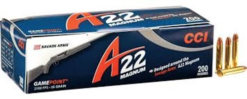 CCI 22 WMR Ammunition A22 GamePoint 963CC 35 Grain Jacketed Soft Point Case of 2000 Rounds