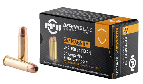 Prvi PPU 357 Mag Ammunition Handgun PPD357 158 Grain Jacketed Hollow Point Case of 500 Rounds