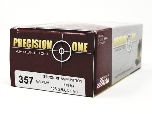 Precision One 357 Mag Ammunition 125 Grain *Seconds* Full Metal Jacket Flat Nose 50 Rounds