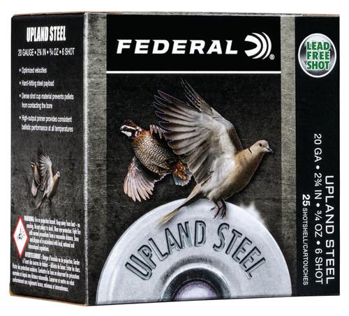 """Federal 20 Gauge Ammunition Upland Steel USH206 2-3/4"""" 6 Shot 3/4oz 1500fps Case of 250 Rounds"""