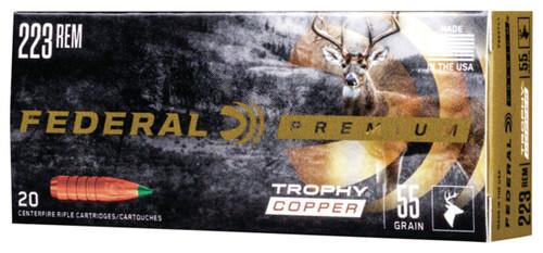 Federal 223 Rem Ammunition P223TC1 55 Grain Trophy Copper Ballistic Tip Lead-Free 20 Rounds