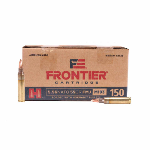 Hornady 5.56x45mm NATO Ammunition Frontier M193 FR202 55 Grain Full Metal Jacket 150 Rounds