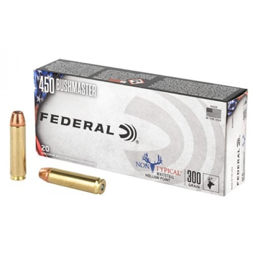 Federal 450 Bushmaster Ammunition Non-Typical White Tail 450BMDT1 300 Grain Hollow Point Case of 200 Rounds